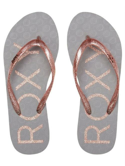 ROXY WOMENS FLIP FLOPS.VIVA GREY SPARKLE PINK GLITTER BEACH THONGS SANDALS S20 3
